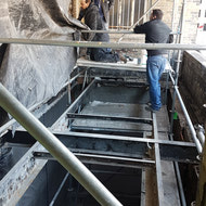Work being done on the new fire escape.