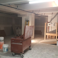 Basement is looking drastically different with the recent additions of drywall.